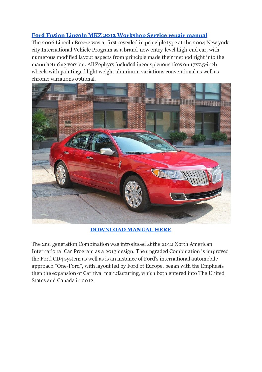Ford Fusion Lincoln MKZ 2012 Workshop Service repair manual